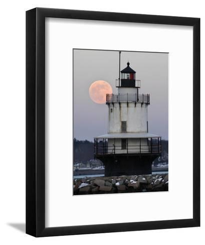 Full Moon Rises Behind the Spring Point Light House in South Portland, Maine--Framed Art Print