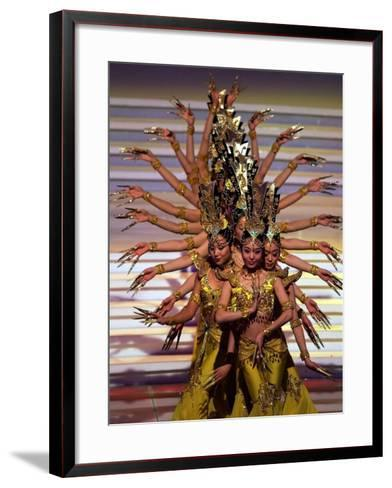 Chinese Dancers Perform During a Dress Rehearsal for the 54th Miss World Contest in Sanya--Framed Art Print