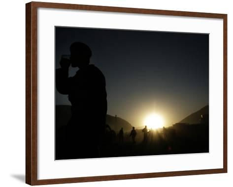 Soldier of the Afghan National Army Drinks Tea at Sunset in Kabul, Afghanistan--Framed Art Print