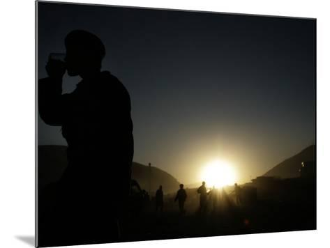 Soldier of the Afghan National Army Drinks Tea at Sunset in Kabul, Afghanistan--Mounted Photographic Print