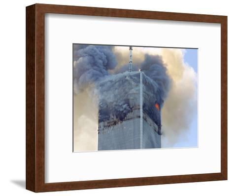 Fire and Smoke Billows from the North Tower of New York's World Trade Center September 11, 2001--Framed Art Print