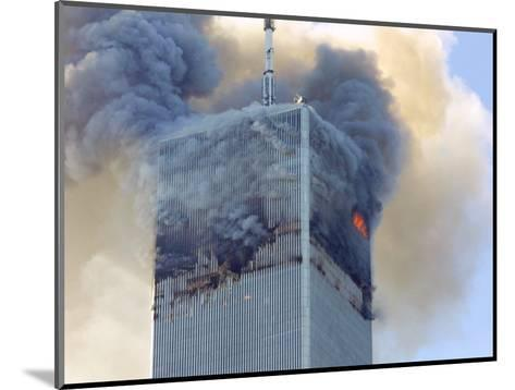 Fire and Smoke Billows from the North Tower of New York's World Trade Center September 11, 2001--Mounted Photographic Print