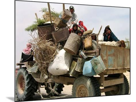 An Iraqi Family and Their Sheep Ride on Their Tractor to Fetch Water Outside the Town of Najaf--Mounted Photographic Print