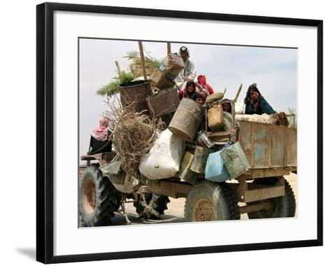 An Iraqi Family and Their Sheep Ride on Their Tractor to Fetch Water Outside the Town of Najaf--Framed Art Print