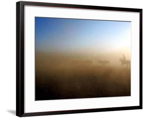 A Herd of Horses is Taken out Runs Across the Grounds Near a Temporary Race Course Ground--Framed Art Print