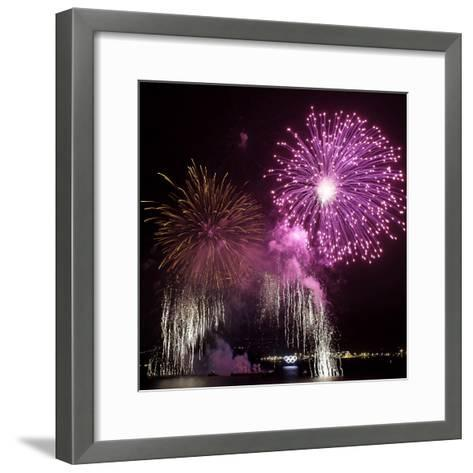 Fireworks Explode over the Olympic Rings During the Opening Ceremony of the Vancouver 2010 Olympics--Framed Art Print