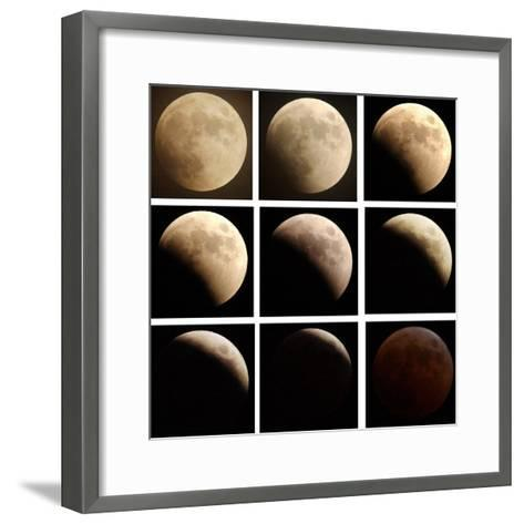 This Sequence of Photographs Shows the Total Eclipse of the Moon over Denver, Colorado--Framed Art Print