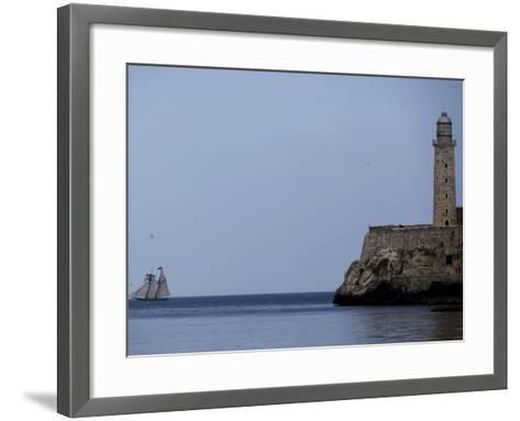 US-Flagged Vessel Amistad Nears the Port of Havana as it Passes the Morro Castle--Framed Art Print