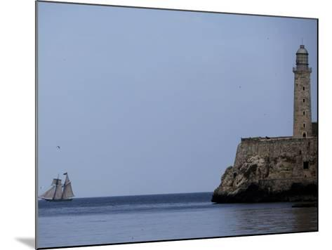 US-Flagged Vessel Amistad Nears the Port of Havana as it Passes the Morro Castle--Mounted Photographic Print