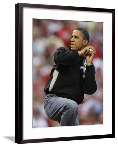 President Obama Winds Up to Throw Out the First Pitch During the MLB All-Star Baseball Game in St. --Framed Art Print