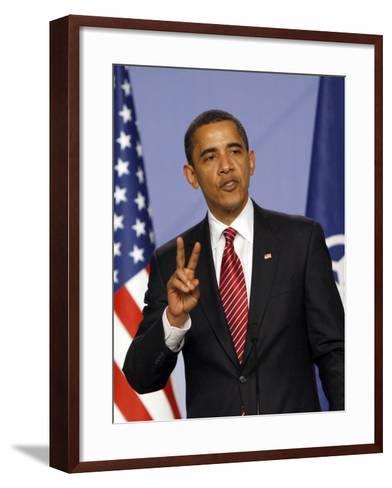 US President Barack Obama Speaking at a Media Conference at the NATO Summit in Strasbourg, France--Framed Art Print