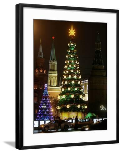 Christmas Trees Rise Just Outside the Moscow Kremlin--Framed Art Print