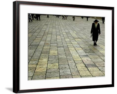 An Orthodox Israeli Jew Walks Across the Plaza Next to the Western Wall--Framed Art Print