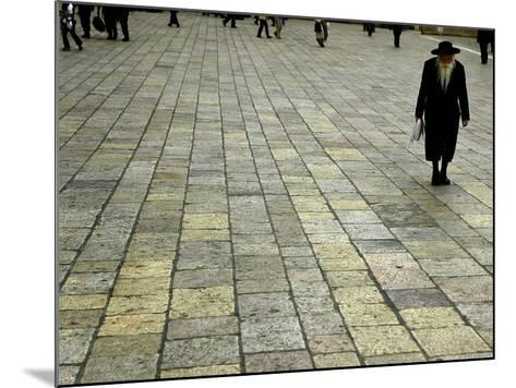 An Orthodox Israeli Jew Walks Across the Plaza Next to the Western Wall--Mounted Photographic Print