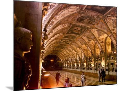 Visitors Examine the Sculptures and Frescoes of the Antiquarium Hall in Munich, Germany--Mounted Photographic Print