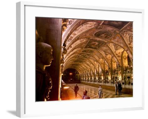 Visitors Examine the Sculptures and Frescoes of the Antiquarium Hall in Munich, Germany--Framed Art Print