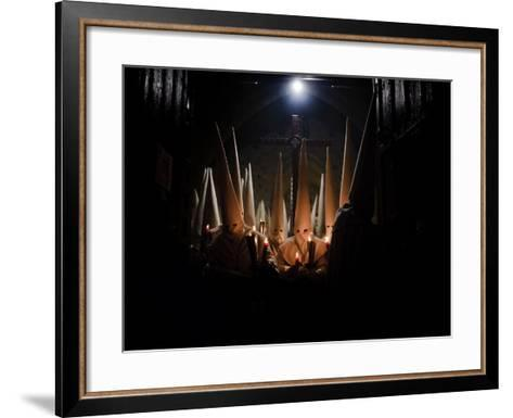Penitents Participate in Procession of 'Jesus Yacente' Brotherhood, During Holy Week in Zamora--Framed Art Print