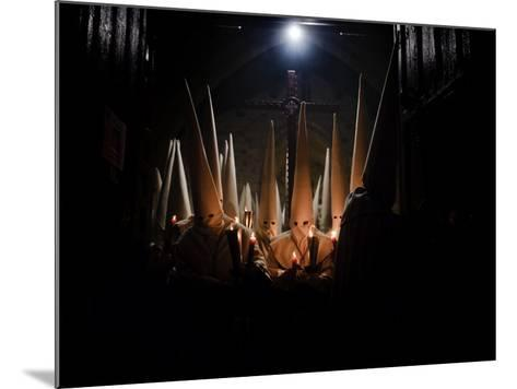 Penitents Participate in Procession of 'Jesus Yacente' Brotherhood, During Holy Week in Zamora--Mounted Photographic Print