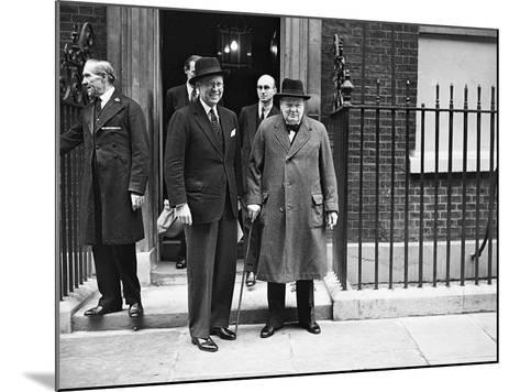 WWII London Churchill and Kennedy--Mounted Photographic Print