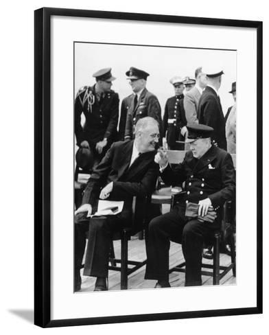 WWII Roosevelt Churchill--Framed Art Print
