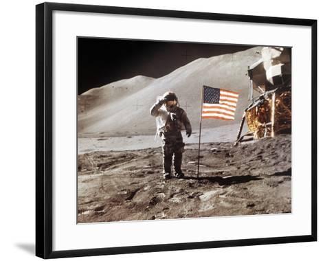 Apollo 15 Moonwalk 1971--Framed Art Print