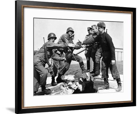 WWII Yanks and Russians Meet 1945--Framed Art Print