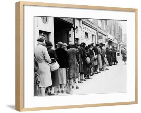 WWII Butcher Shop Line--Framed Art Print