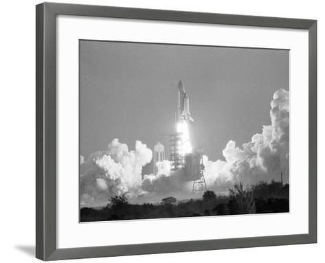 Challenger Liftoff 1984-Glenda Dixon-Framed Art Print