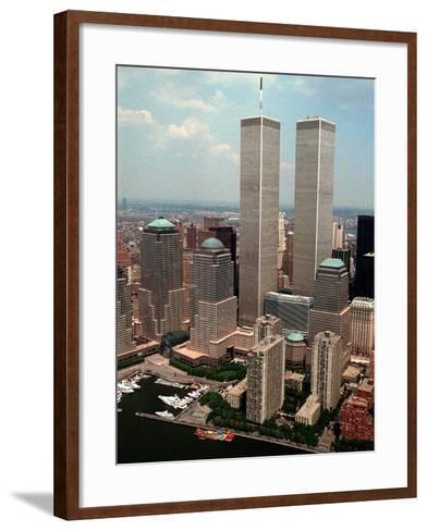 New York Landmarks Twin Towers-Ed Bailey-Framed Art Print
