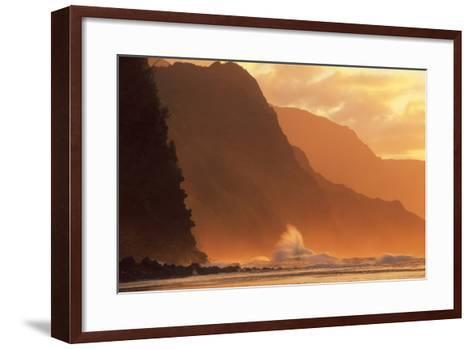 Crashing Waves Against a Mountain at Sunset--Framed Art Print