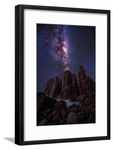 Pinnacles Milky Way-Lincoln Harrison-Framed Art Print