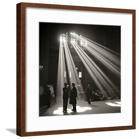 Police in Waiting Room of the Union Station, Chicago--Framed Art Print