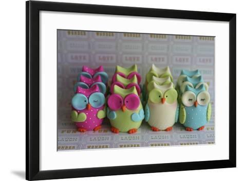Owls Multi Color Brights Large Set--Framed Art Print
