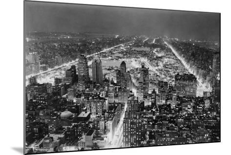 Aerial View of New York City, at Night--Mounted Photographic Print