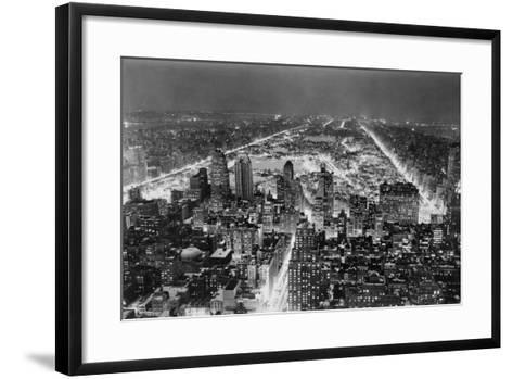 Aerial View of New York City, at Night--Framed Art Print