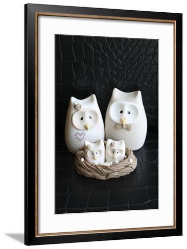 Owl Family Taupe--Framed Art Print