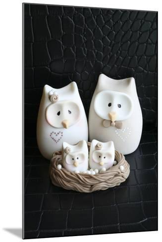 Owl Family Taupe--Mounted Photographic Print
