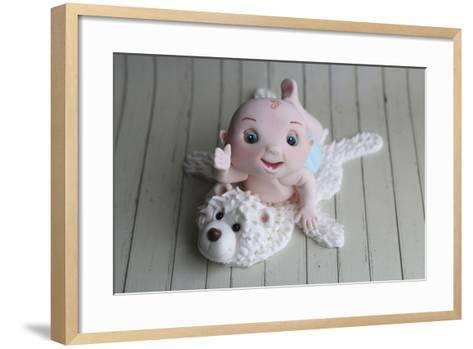 Baby Boy on Bear Rug--Framed Art Print