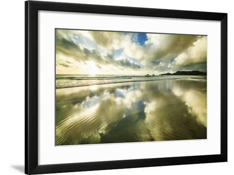 Kailua Beach Gold Streaks-Cameron Brooks-Framed Art Print