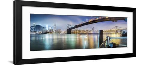 Brooklyn Bridge Pano 2-Color-Moises Levy-Framed Art Print
