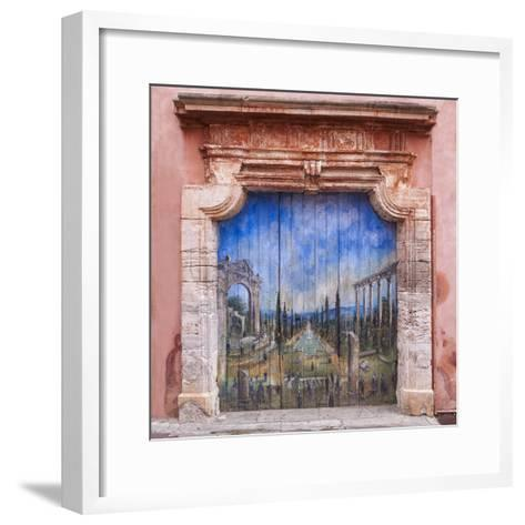 Old Painted Door-Michael Blanchette-Framed Art Print