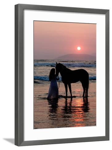 Girl with a Horse in the Water at Sunset-Nora Hernandez-Framed Art Print