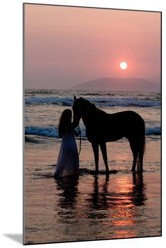 Girl with a Horse in the Water at Sunset-Nora Hernandez-Mounted Photographic Print
