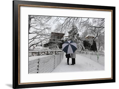 Central Park Couple in the Snow-Robert Goldwitz-Framed Art Print