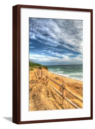 Truro Beach Fence Vertical-Robert Goldwitz-Framed Art Print