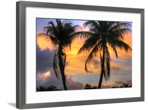 Key West Two Palm Sunrise-Robert Goldwitz-Framed Art Print
