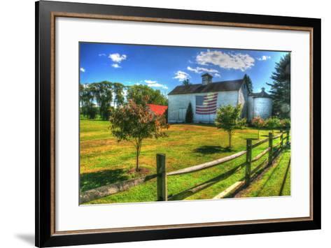 White Barn and Flag-Robert Goldwitz-Framed Art Print