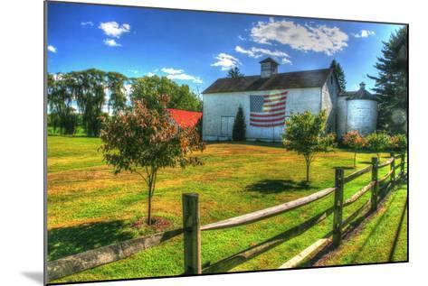 White Barn and Flag-Robert Goldwitz-Mounted Photographic Print