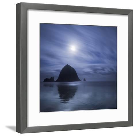 Moon over Canon Beach-Moises Levy-Framed Art Print
