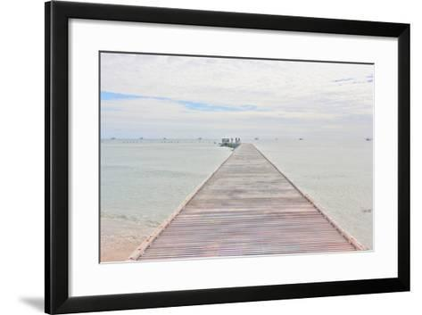 Pier and Shrimper Fleet-Robert Goldwitz-Framed Art Print